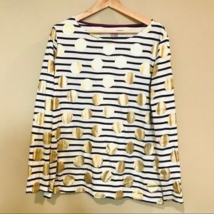 Boden Navy and White striped shirt Size 14